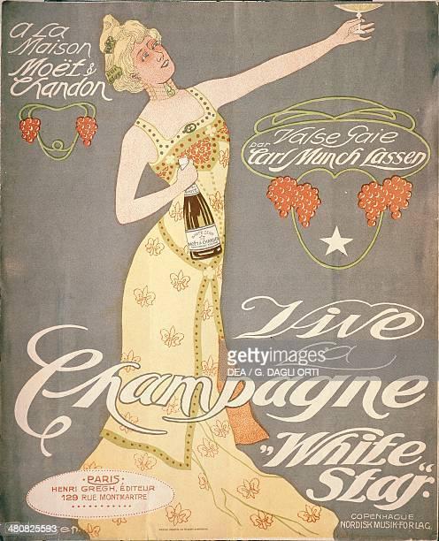 Posters France Maison Moet et Chandon Vive la Champagne White Star Valse gaie par Carl Munch Lassen Cover of a song booklet advertising Champagne...