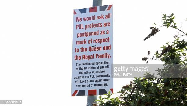Posters have appeared in Loyalist areas of West Belfast, calling off planned protests in Belfast, Northern Ireland on April 9 following the...