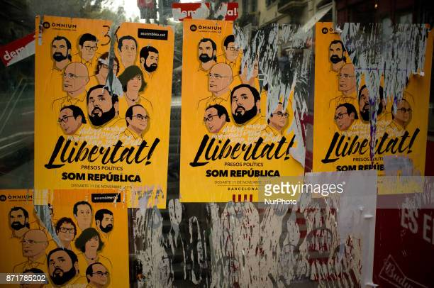 Posters in support of Catalan political prisoners in the streets of Barcelona Spain on 8 November 2017 Catalonian territory went on general strike...