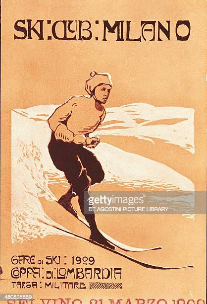 Posters, Italy, 20th century. Ski Club Milano. Lombardy region cup, skiing race. Advertisment for skiing race at Selvino.