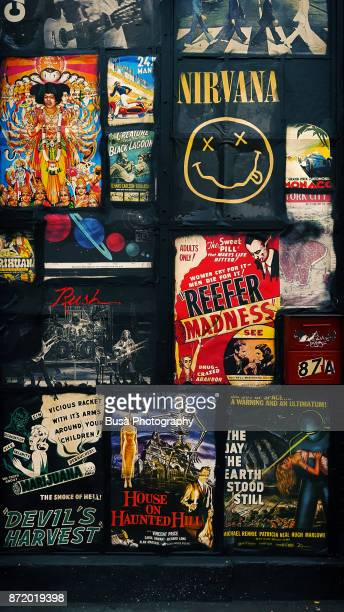 Posters of B-Movies and Music Albums on a store front near the Bowery in Manhattan, New York City