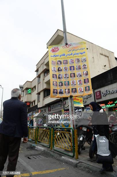 Posters of candidates are seen at streets ahead of general elections, will be held on 21st February, in Tehran, Iran on February 17, 2020.