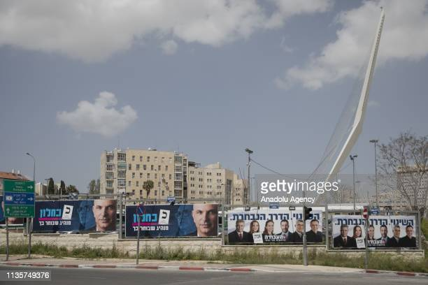 Posters of candidates are seen prior to the early general elections which will take place on April 09 in Jerusalem on April 08 2019 41 political...