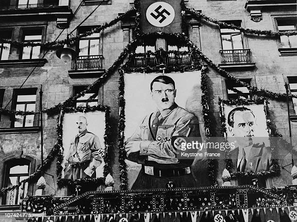 Posters Of Hitler Leibel And Streicher On The Entry Of The Theatre Apollo At Nuremberg In Germany During Thirties