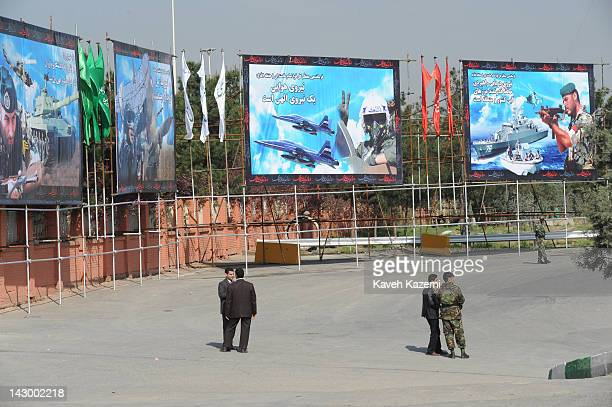 Posters of Iranian armed forces displayed outside Ayatolah Khomeini's shrine during a parade commemorating the National Army Day on April 17 2012 in...