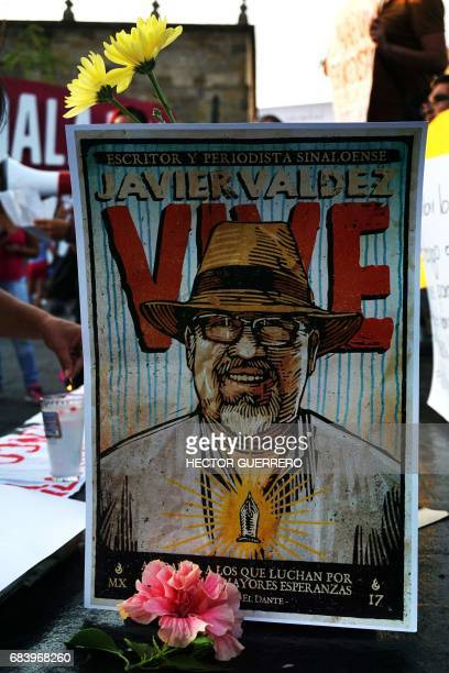 A posters of Javier Valdez is seen during a protest against the recent murder of the the Mexican journalist in Guadalajara on May 16 2017 Mexico...