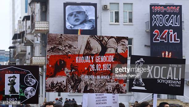 Posters of Khojaly Massacre victims are seen during the commemoration of Khojaly Massacre in Baku Azerbaijan on February 26 2016 Khojaly Massacre in...