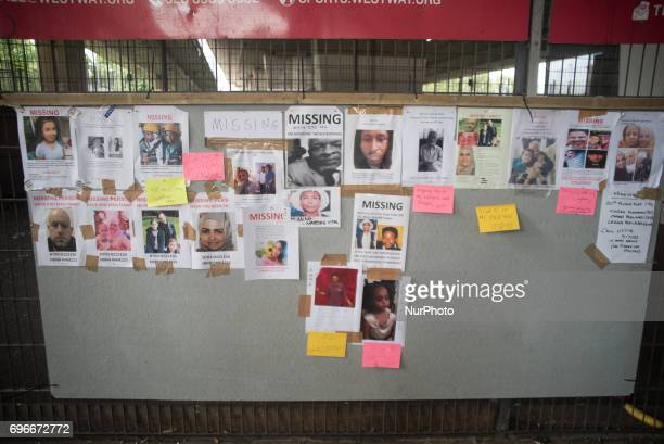 Posters of missing people are seen around the site of Grenfell Tower block following the fire London on June 16 2017 The toll from the Grenfell Tower...