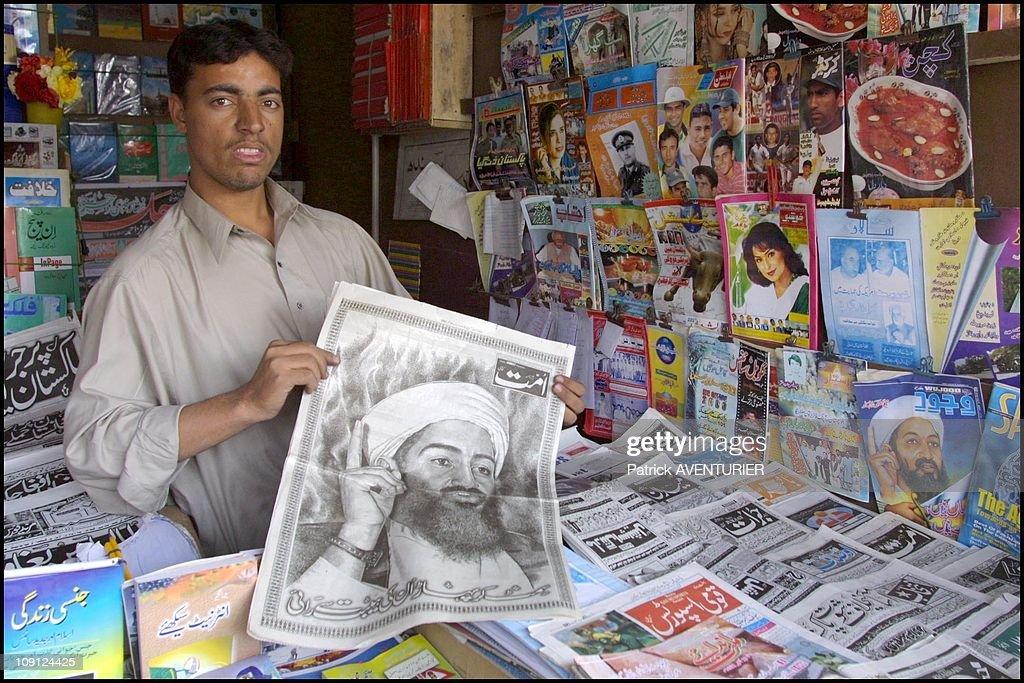 Posters Of Osama Bin Laden On April 10Th, 2001, Pakistan. : News Photo