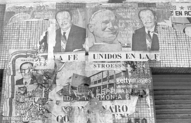 Posters of Presidential candidate Alfredo Stroessner and Pope John Paul II