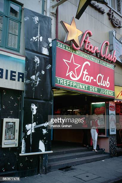 Posters of the Beatles Hang Outside the Star Club in Hamburg Germany
