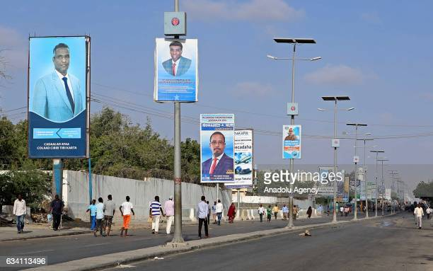 Posters of the candidates are seen through the street ahead of the Somalia's presidential election which will be held tomorrow in Mogadishu Somalia...