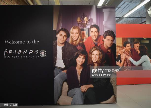 Posters of the Friends' cast are seen during the Friends New York City PopUp press preview on September 05 2019 in New York