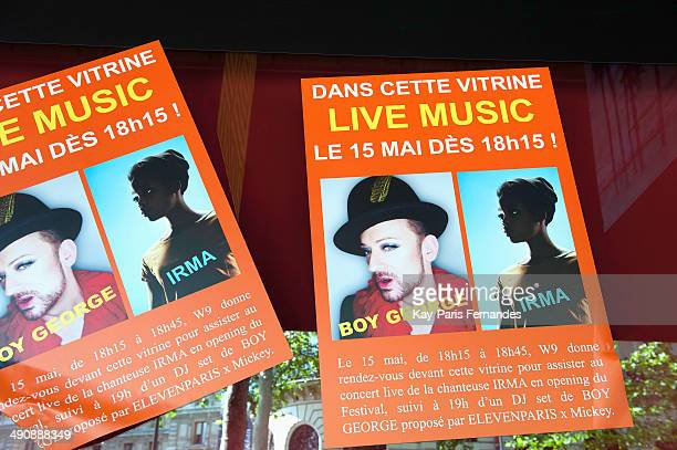 Posters on the windows prior to Irms performance in the windows of Galeries Lafayette for the Festival de Mode at Galeries Lafayette at Galeries...