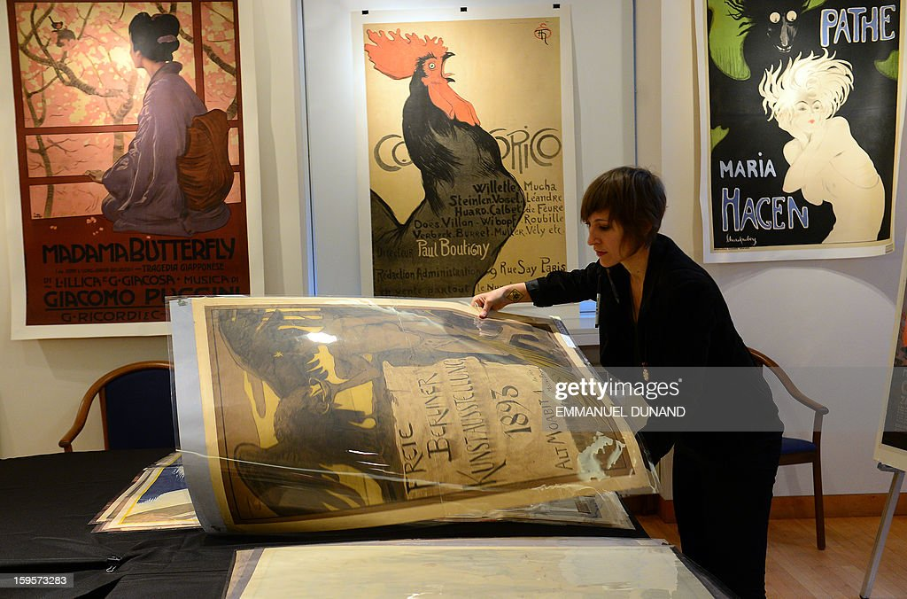 Posters, part of a collection of more than 4,300 pre-World War II posters, looted by the Gestapo during the WWII, are on display prior to be auctioned at the National Bohemian Hall in New York, January 16, 2013. A German court ordered the German Historical Museum, where the posters weere kept, to return the collection, gathered by Hans Sachs, a Jewish dentist who fled Nazi Germany, to Hans' son Peter Sachs. The collection will be auctioned on January 18, 2013 with an estimated value at more than 5.8 million dollar.