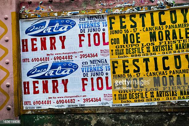 Posters printed on the ancient letterpress machine seen on the street of Cali on 2 June 2012 in Cali Colombia Letterpress printing invented by...