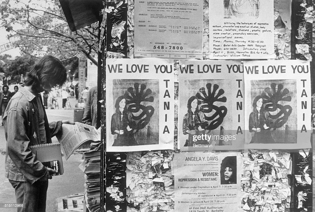 Posters of Patty Hearst on College Campus : News Photo