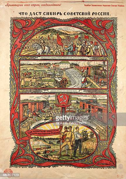Posters Russia 20th century The benefits of revolution victorious Red Army contributes to the transport of wheat and cattle 1917 Paris Musée De...