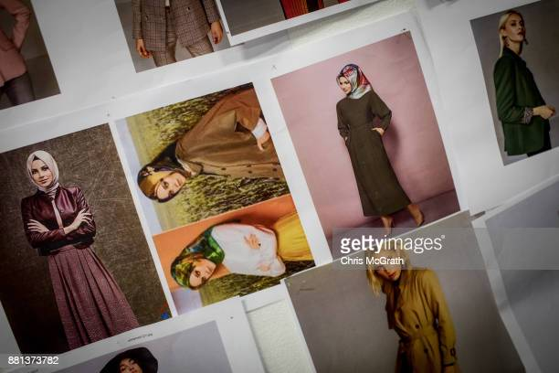 Posters showing looks and poses are pinned to a wall in the photo studio of modest clothing brand Modanisa on November 28 2017 in Istanbul Turkey...