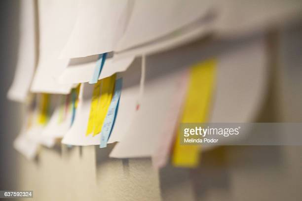 posters with sticky notes on the wall after a meeting
