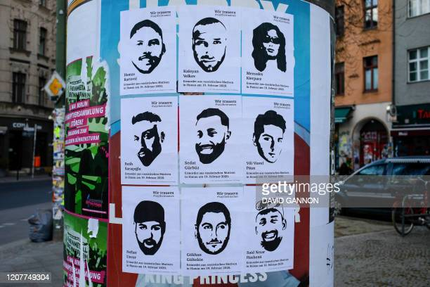 Posters with the pictures and names of the victims of a right-wing extremist gunman, who killed nine people in a racist attack in Hanau on February...