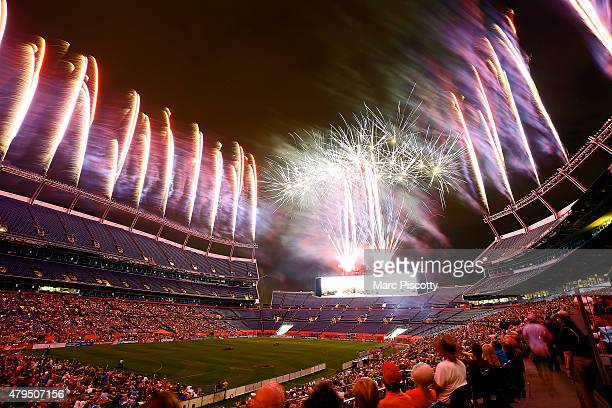 Postgame fireworks at Sports Authority Field at Mile High after the Denver Outlaws versus Boston Cannons Major League Lacrosse game on July 4 2015 in...