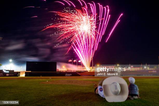Postgame fireworks show is pictured after the game between the Amarillo Sod Poodles and the Midland RockHounds at HODGETOWN Stadium on June 18, 2021...