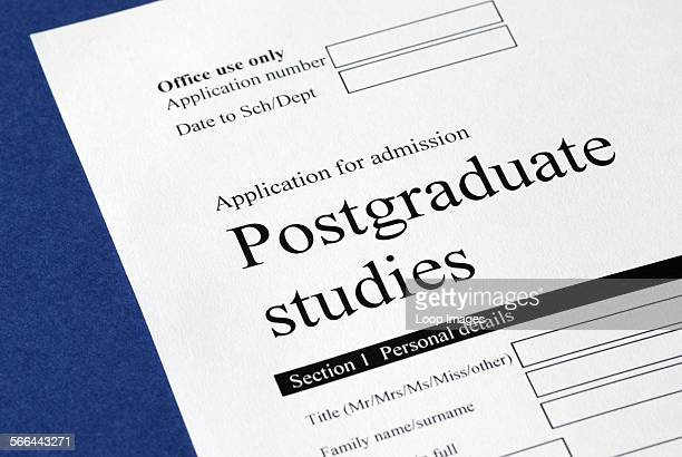 Postgraduate studies application form.