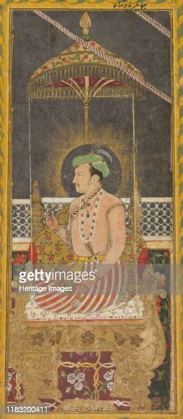 Posthumous portrait of Emperor Jahangir under a canopy ; Calligraphy , circa 1650. Jahangir, the fourth Mughal emperor, was remembered for his...