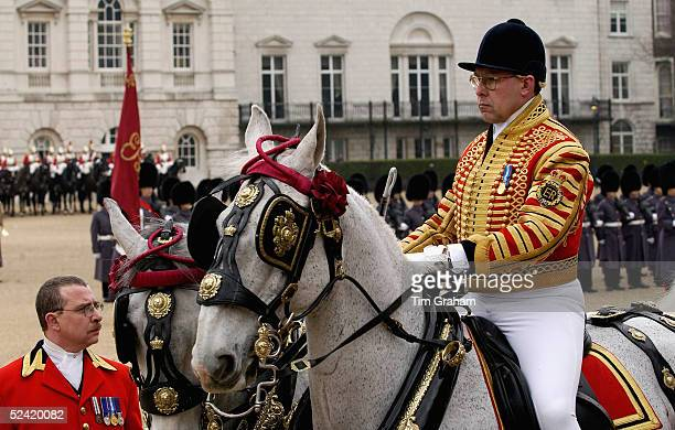 Postilion on horseback for welcome ceremony for the Italian State Visit at Horse Guards Parade on March 15, 2005 in London, England.