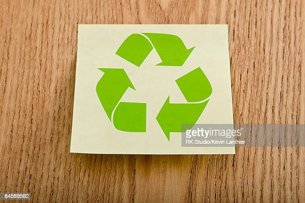 A post-it note with a recycling logo.