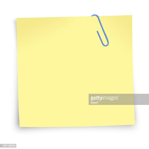 postit note with paper clip