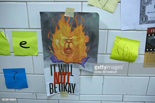 Postit notes are viewed as part of the art piece 'Subway Therapy' at the Union Square subway station in New York on November 17 2016 Subway Therapy...