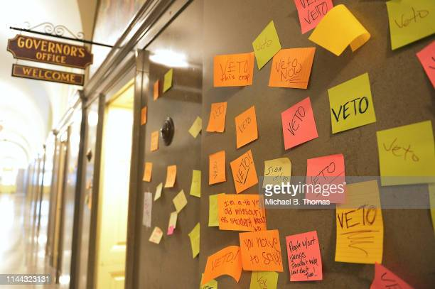 Postit notes with messages calling for a veto are seen outside Missouri Gov Mike Parson's office on May 17 2019 in Jefferson City Missouri Tension...