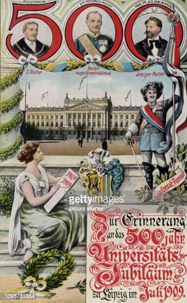 Postkarte 'Zur Erinnerung an d 500jährige UniversitätsJubiläum zu Leipzig im Juli 1909'darauf zu sehen oben in Großer roter 500 3...