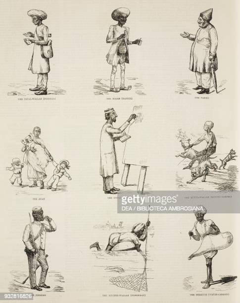 Postman barber parsee nursemaid schoolmaster dogcatcher soldier fisherman water carrier some humorous Indian types India illustration from the...