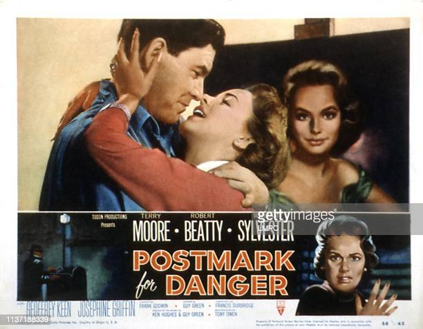 Postmark For Danger lobbycard top from left Robert Beatty Terry Moore bottom right 1955