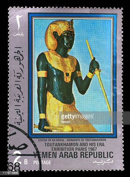 postmark - statue of ka royal - death mask of tutankhamen stock pictures, royalty-free photos & images