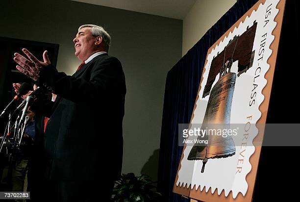 S Postmaster General Jack Potter speaks at a news conference introducing the Forever Stamp at the annual National Postal Forum March 26 2007 in...