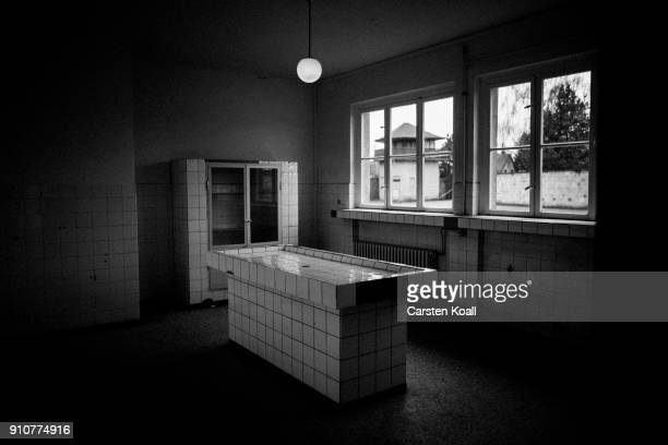 A postmortem tables in pathology building at the Sachsenhausen concentration camp memorial on January 25 2018 in Oranienburg Germany Between 1936 and...