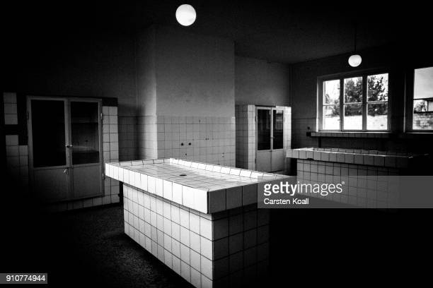 Postmortem tables in pathology building at the Sachsenhausen concentration camp memorial on January 25 2018 in Oranienburg Germany Between 1936 and...