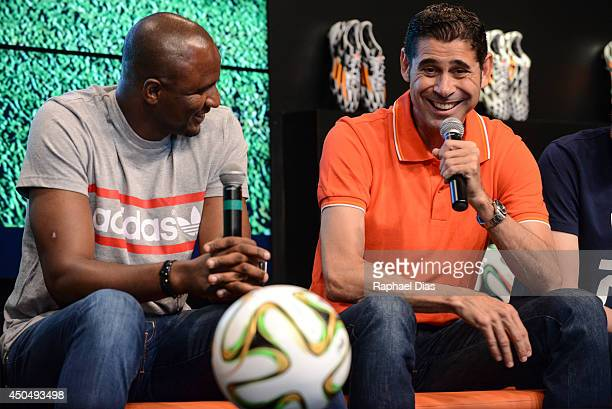 Posto adidas Patrick Vieira and Fernando Hierro attend to the The Dugout YouTube Live TV Show and Press Conference on June 2014 in Rio de Janeiro...