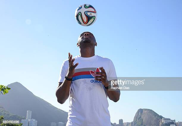 Posto adidas Patrick Vieria doing kick ups at the Posto adidas before the The Dugout YouTube Live TV Show and Press Conference on June 2014 in Rio de...
