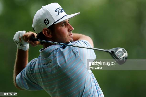T Poston hits a tee shot on the 15th hole during the final round of the Wyndham Championship at Sedgefield Country Club on August 04 2019 in...
