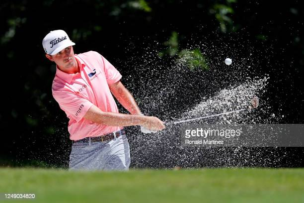 T Poston of the United States plays a shot from a bunker on the fifth hole during the first round of the Charles Schwab Challenge on June 11 2020 at...