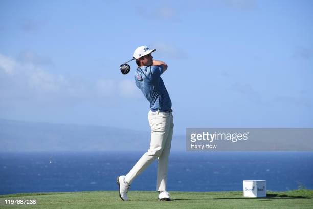 T Poston of the United States plays his shot from the tenth tee during the final round of the Sentry Tournament Of Champions at the Kapalua...