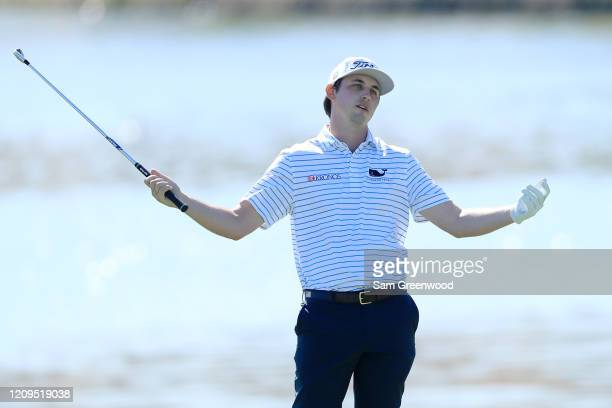 Poston of the United States reacts to a shot on the sixth hole during the third round of the Honda Classic at PGA National Resort and Spa Champion...