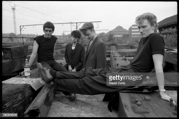 Postpunk pop band 'Killing Joke' pose for a portrait on July 2 1982 in Camden England Jaz Coleman Paul Raven 'Big' Paul Ferguson Geordie Walker