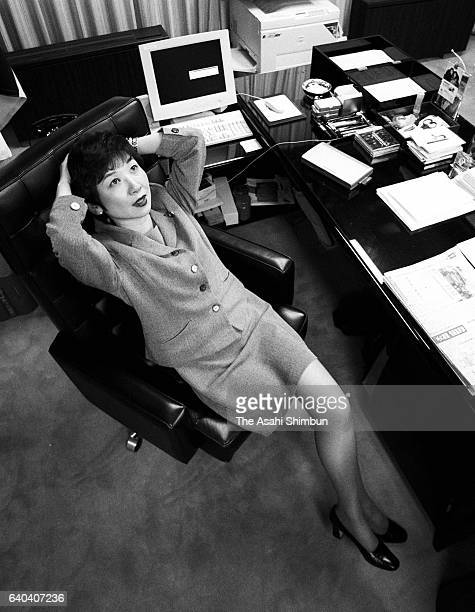 Posts and Telecommunications Minister Seiko Noda poses for photographs during the Asahi Shimbun interview at her office on May 7 1999 in Tokyo Japan