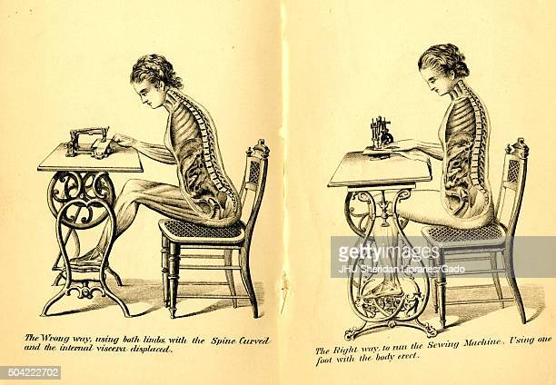 Posture book showing an illustration of a woman sitting at a chair and using a sewing machine with both the wrong way and right way to sit...